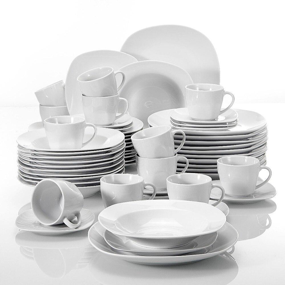 MALACASA Series Elisa 60 Piece Porcelain Dinner Set Cups, Saucers, Dinner Soup Dessert Plates Set for 12 Person