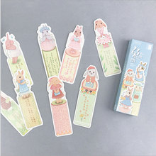 30 pcs/box creative rabbit paper bookmark stationery bookmarks book holder message card school supplies papelaria