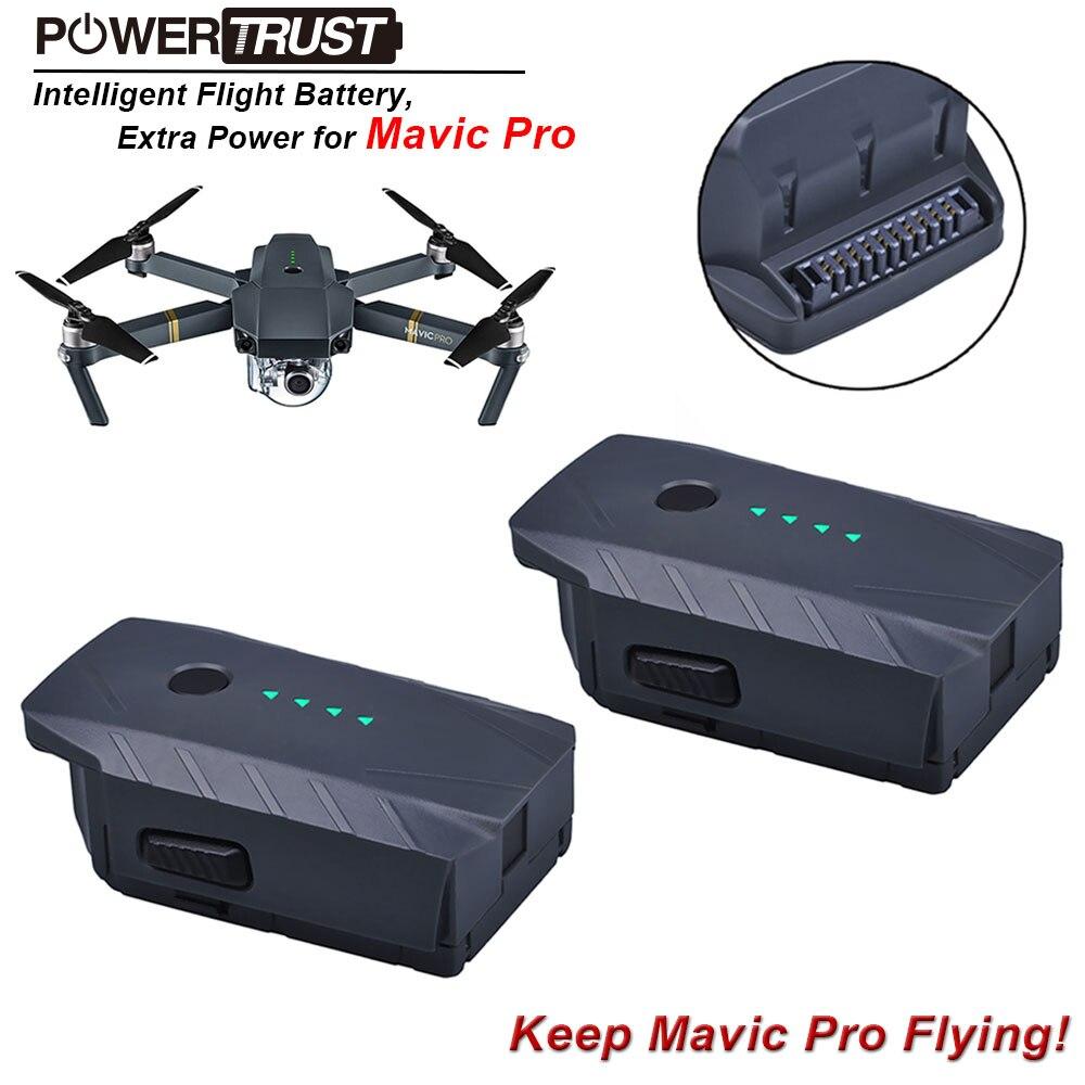 Batterie de remplacement de vol intelligente PowerTrusr 2x Mavic Pro (3830 mAh/11.4 V) pour batteries de drone dji mavic pro