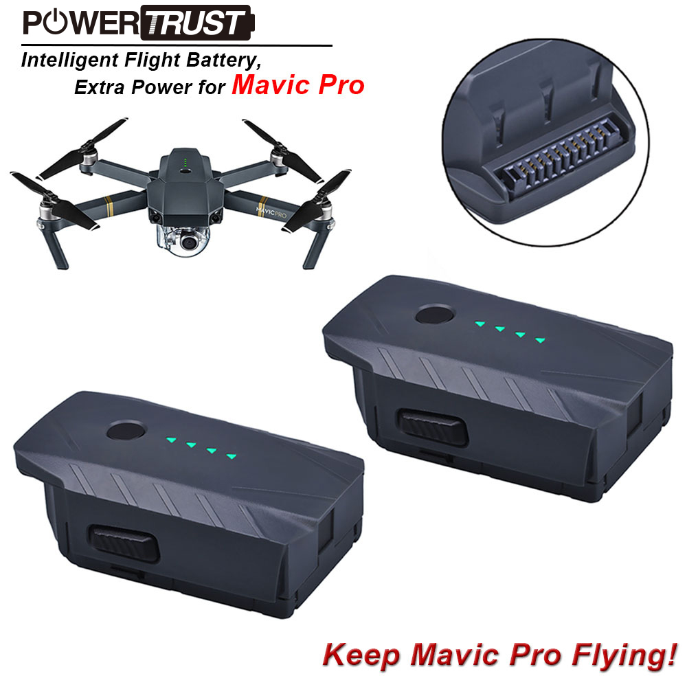 PowerTrusr 2x Mavic Pro Intelligent Flight Replacement Battery (3830mAh/11.4V) for dji mavic pro drone batteries цены