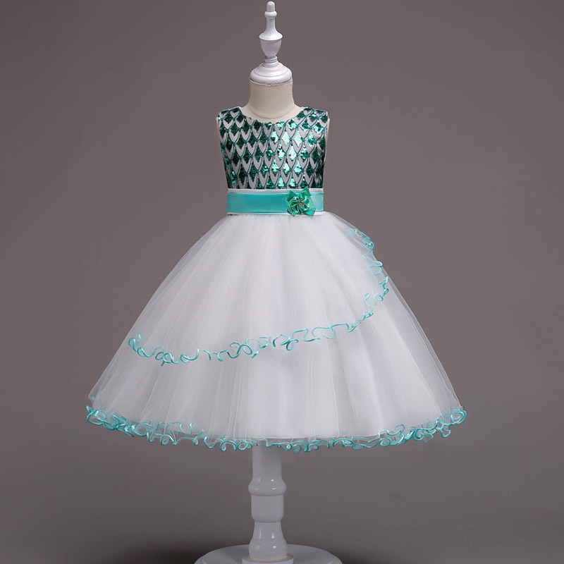 U-SWEAR 2019 New Arrival Kid   Flower     Girl     Dresses   Sequined Beaded O-neck Sleeveless Ruffle Chiffon Ball Gown Sashes   Girls     Dresses