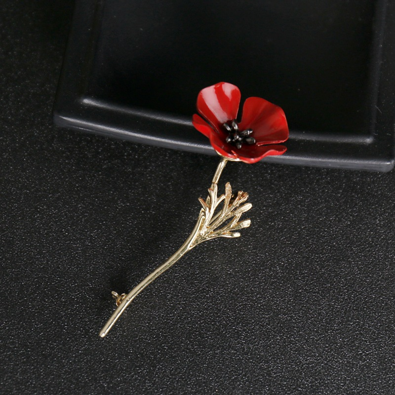 Mdiger Brand Fashion Red Poppy Flower Brooch Vintage Collar Pins for Men Jewelry Brooches Pins Boutonniere Men Suit Accessories