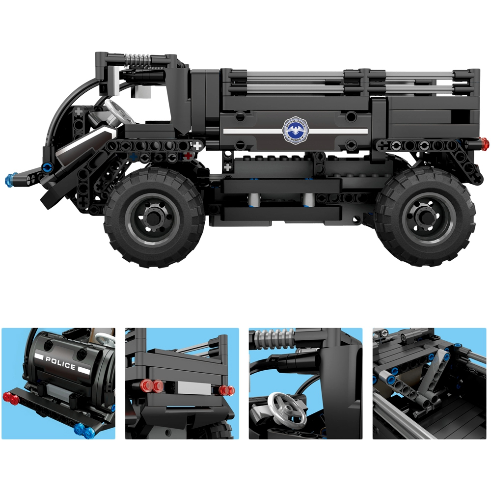 462pcs DIY Assembled 2.4G Four way Remote Control Assembling Blocks Electric Special Police Personnel Carrier
