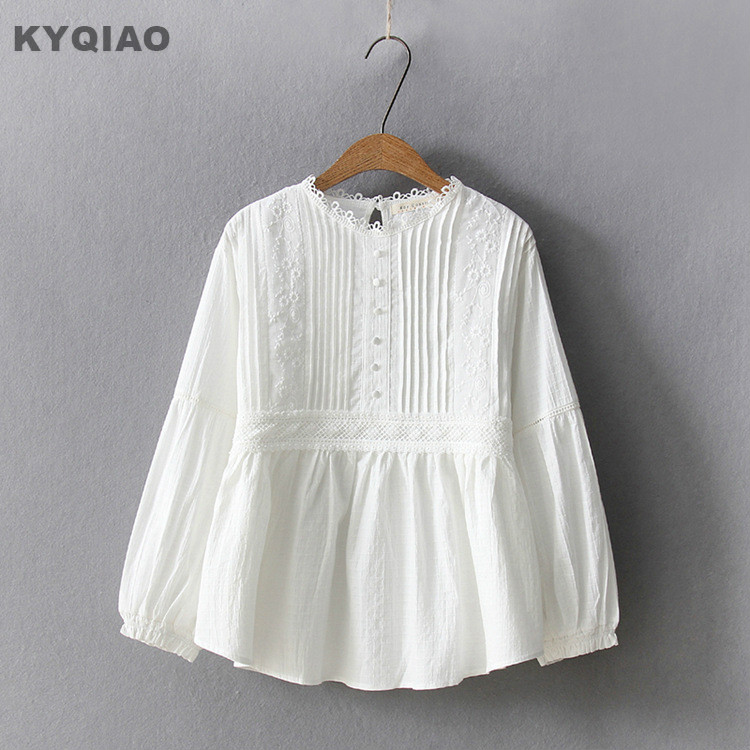 Kyqiao Ethnic Shirt 2019 Mori Girls Japanese Style Fresh Long Sleeve Turn-down Collar Blue White Embroidery Blouse Shirt Blusa Women's Clothing