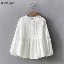 Kyqiao camisa de renda branca 2020 mori meninas primavera outono estilo japonês fresco doce o pescoço rendas bordado blusa topo