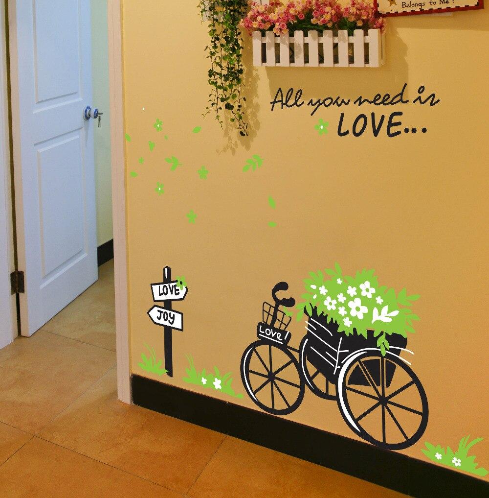 DIY green flora bike romantic You Need Love home decals wedding ...