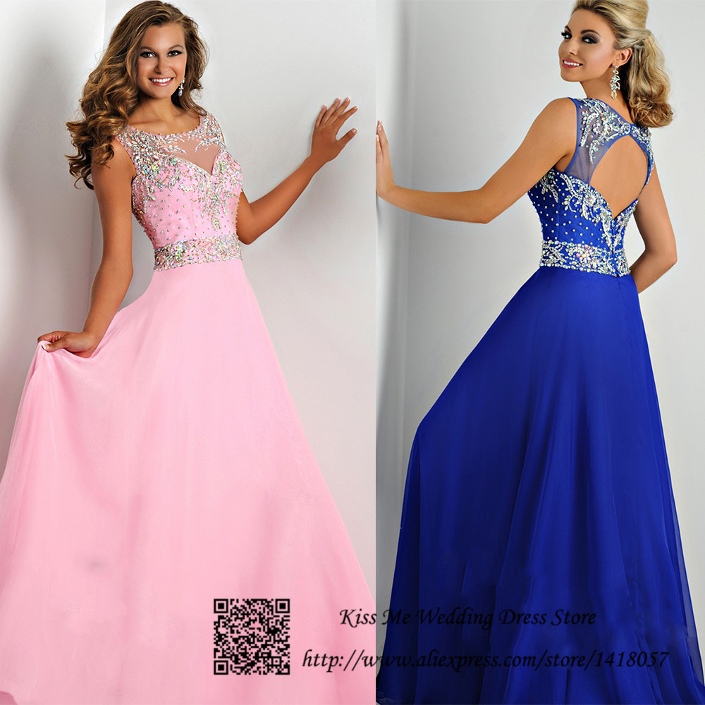 Vestidos de Fiesta Brillant Pink Royal Blue Beaded Prom Dresses 2015 ...