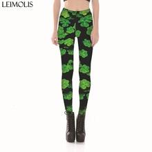 Leimolis 3D printed retro clover shamrock harajuku gothic sexy plus size high waist push up fitness workout leggings women pants