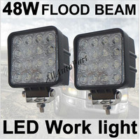 40pcs 48W 4 Square LED Work Light Cool White 6000k Flood Beam 2760Lumens For ATV Jeep