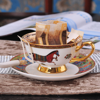 European Royal Bone China Coffee Cup Set Phnom Penh Afternoon Tea Black Teacups With Spoon Porcelain Coffee Cup Dish Suits