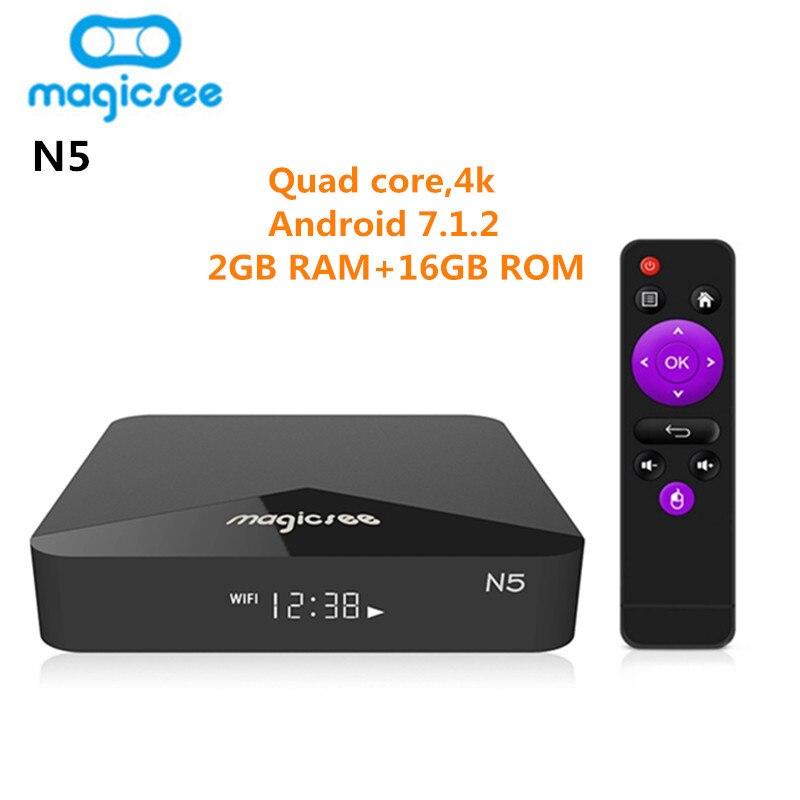 MAGICSEE N5 Smart TV Box Android TV Box OSAmlogic S905X Android 7.1.2 2GB RAM 16GB ROM 2.4G 5G WiFi 100Mbps BT4.1 Set Top BoxMAGICSEE N5 Smart TV Box Android TV Box OSAmlogic S905X Android 7.1.2 2GB RAM 16GB ROM 2.4G 5G WiFi 100Mbps BT4.1 Set Top Box