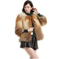 Женские пальто с мехом осень зима новый стиль модные пальто с мехом из натуральной silver fox red fox мех Женщины куртка C507