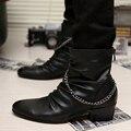 Моды для мужчин Ботильоны Взрослых ПУ тенденция Обувь Осень-Зима британский Стиль Цепь Загрузки Случайный мужчина на открытом воздухе Плоские туфли Размер 39-44