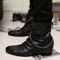 Men Fashion Ankle Boots Adult PU trend Shoes  Autumn Winter British Style Chain Boot Casual male outdoor Flat shoes Size 39-44