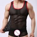 Lingerie Sexy Gay Roupas Tarja Malha Net Camisas Moda Homem Roupas Undershirts Colete Tarja Ver Através De Tops FX1022