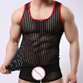 Sexy Ropa Interior Gay Ropa Stripe Mesh Net Camisas Moda Hombre Ropa Camisetas Interiores Chaleco Raya Opacidad Tank Tops FX1022