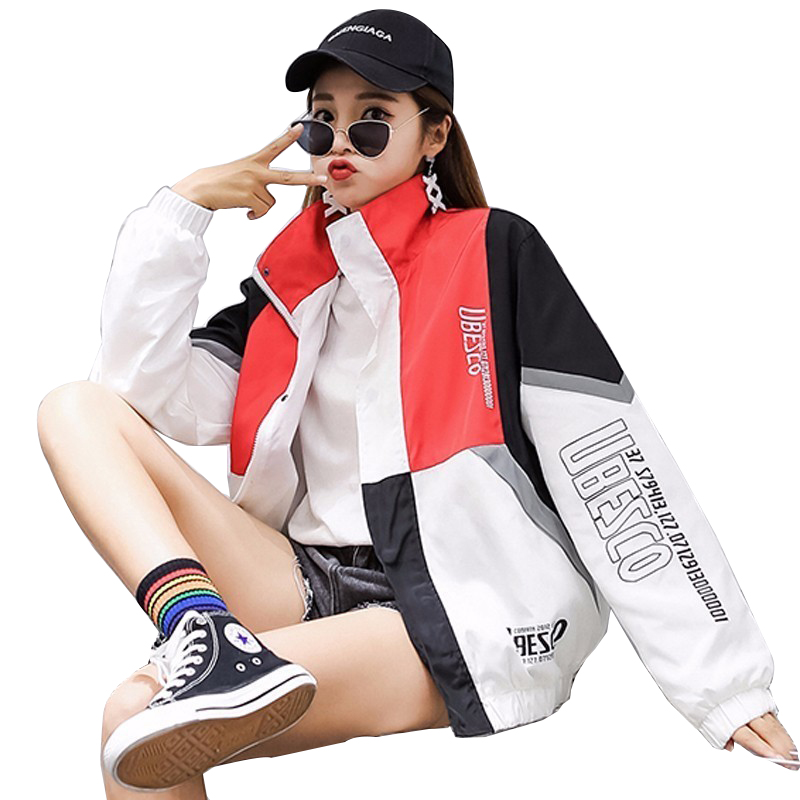 Bomber   Jacket   2018 Summer Women Hip Hop   Basic   Coat Letter Spliced Student Thin Loose Autumn Fashion Windbreaker US Size PJ290