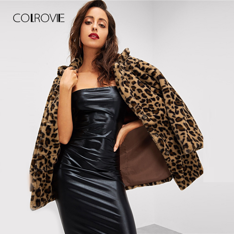 COLROVIE Leopard Print Streetwear Winter Faux Fur Jacket Coat Women Clothes 2018 Autumn Fashion Office Warm Ladies Outerwear