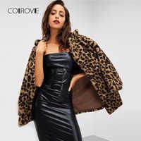 Colrovie leopardo impressão streetwear inverno falso casaco de pele roupas femininas 2018 outono moda escritório quente senhoras outerwear
