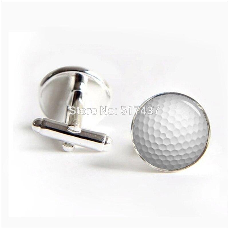2017 Wholesale Golf Ball Cufflinks Golf Cuff Links Silver Glass Golf Cufflink Brand Cuff Links Men