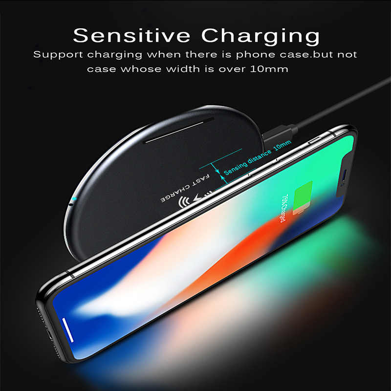 اللاسلكية شاحن آيفون X 8 XS ماكس 10 W USB اللاسلكية كابل شحن لهواتف سامسونج غالاكسي S8 S9 S7 حافة تشى شاحن لاسلكي يو إس بي