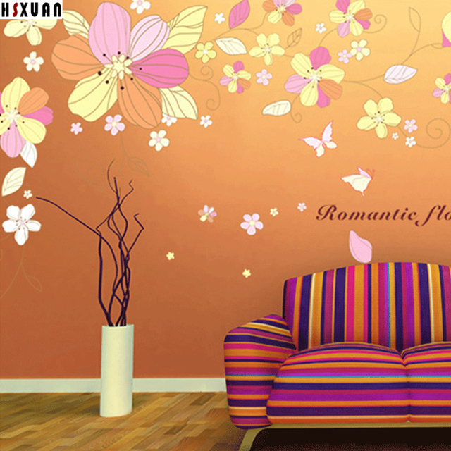 flower&butterfly decoration diy wall stickers romantic adornment