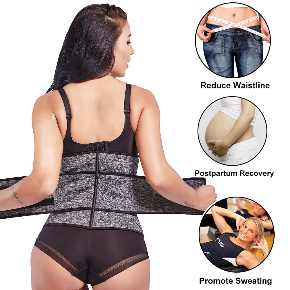 Lover Beauty Women Waist Trainer Plus Size High Compression Zipper Fajas Slimming Tummy Belt Corset Neoprene Fitness Sweat Belt