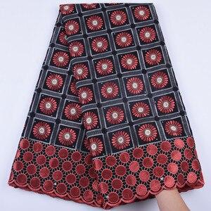Image 1 - 2019 новейшая африканская кружевная ткань, швейцарская вуаль с камнями, швейцарская хлопковая кружевная ткань высокого качества, швейцарская кружевная ткань для свадьбы A1682