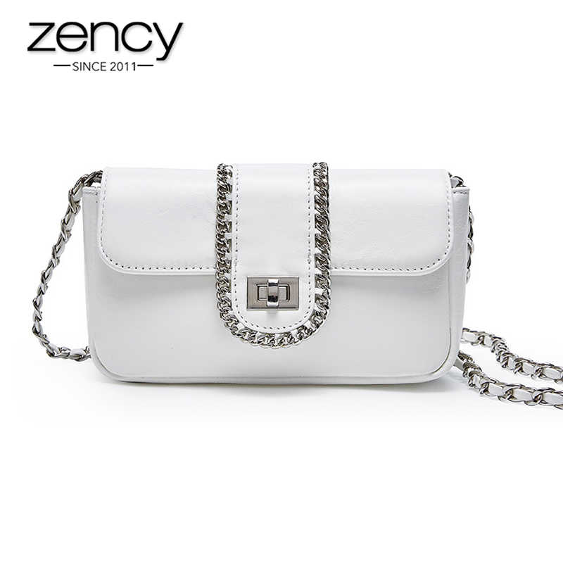 promo codes excellent quality arrives Zency 100% Genuine Leather Handbag Summer White Luxury Lady Crossbody Bag  Chain Small Flap Party Shoulder Purse Silver Black