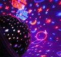 360 grados sala novelty cielo del proyector ligero de la lámpara intermitente rotary estrellada luna de la estrella 3d usb/batería proyector niños lámparas