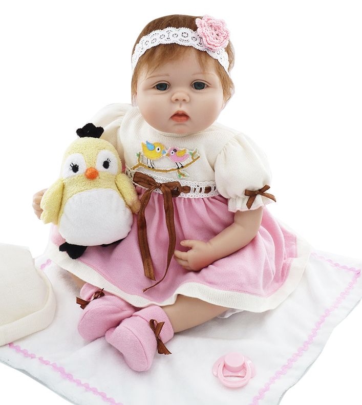 "ФОТО 22"" lovely girl doll reborn babies soft silicone baby dolls cloth body children fashion doll  bebe real bonecas reborn"