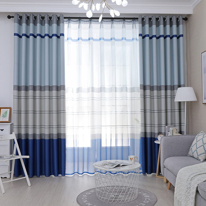Mediterranean Stripe Blue Curtains For Living Room Bedroom Tulle Fabric Window Sheer For Kitchen Customized