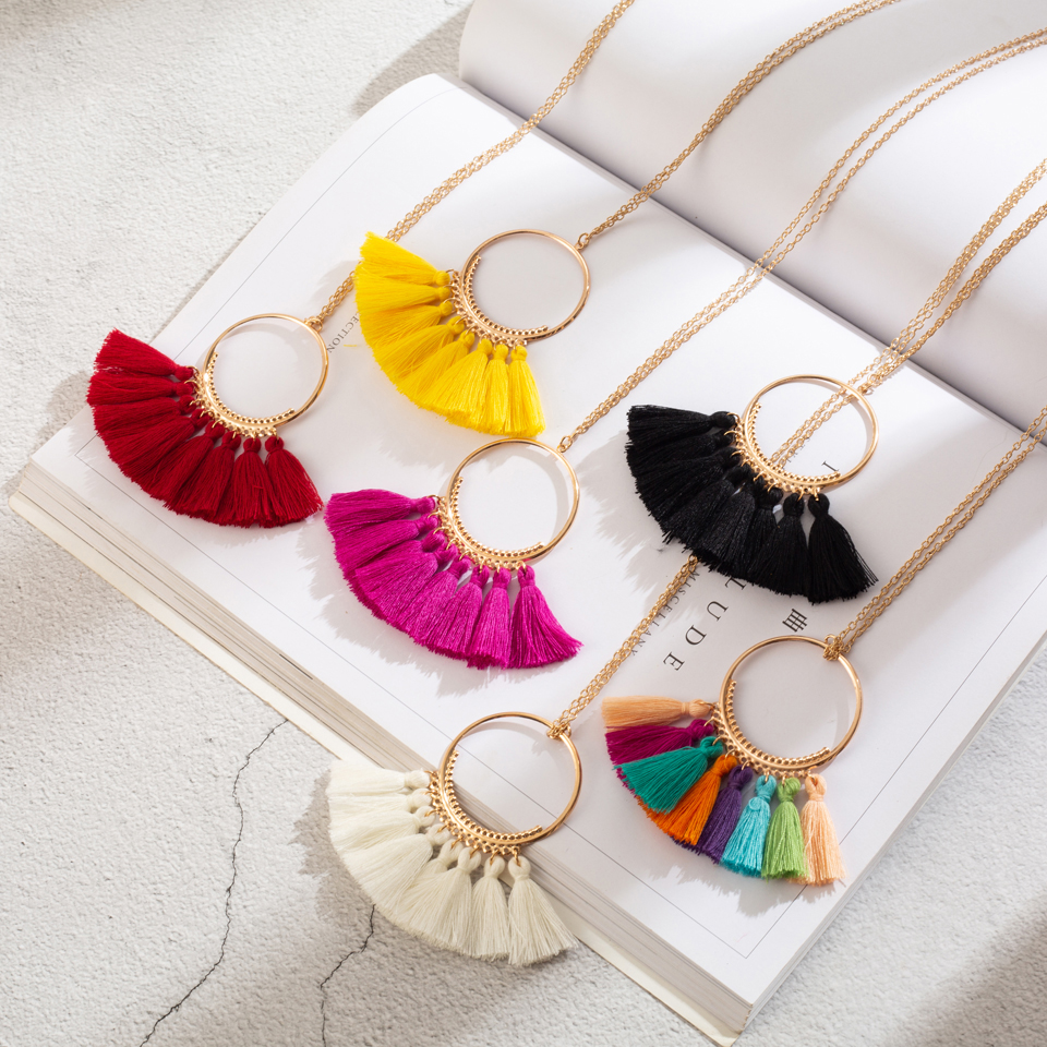 Pendant Necklace Clothing Sweater Jewelry-Accessories Choker Tassel Golden-Chain Ethnic