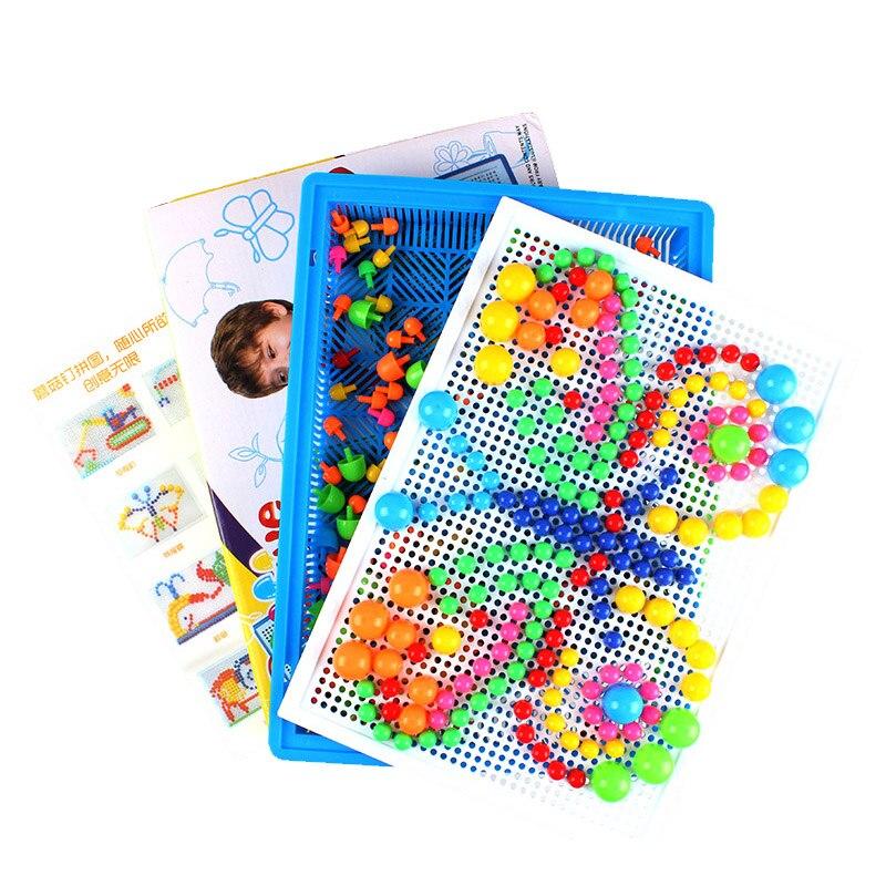 Dobozos csomagolás 296 Gabona gomba köröm gyöngyök Műanyag oktatási játékok Intelligens 3D-s rejtvények játék gyerekeknek Baby Kids W127