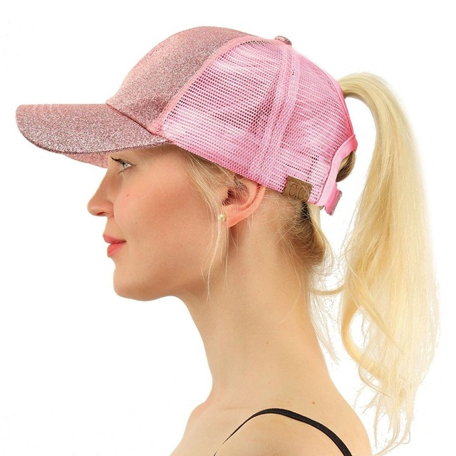 bc1e588b US $4.05 |2018 CC Glitter Ponytail Baseball Cap Summer Dad Hats For Women  Snapback Hip Hop Caps Messy Bun Sequins Shine Mesh Trucker Hat-in Baseball  ...