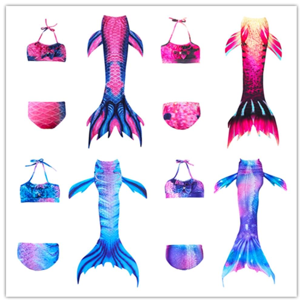 New! 3Pcs/set Girls Bathing Suit Swimming Mermaid Tail Little Children Ariel Mermaid Tail Costume Cosplay Kids Swimwear Swimsuit