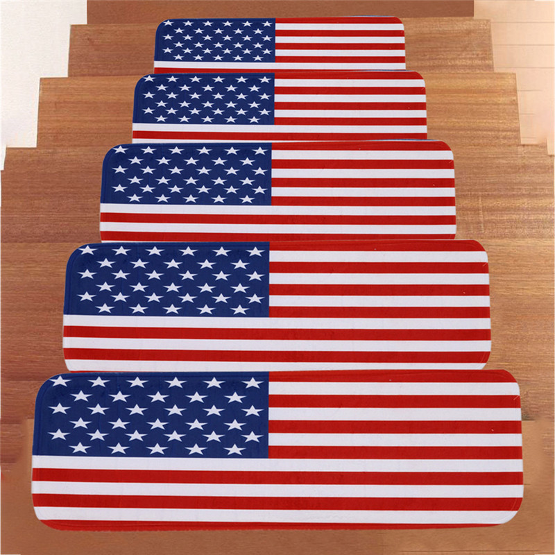 Independence Day 5Pcs StepBasic Non-Slip Coral Fleece Resistant Carpet Stair Mat