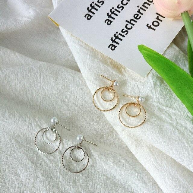 Anel de moda coreano geométrica brincos ganchos de orelha de ouro e prata dois-cor grain círculo brincos de mulheres de jóias por atacado