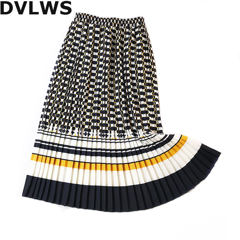 Fashion Retro Printed Skirts Women Accordion Pleated  A Line Skirts Pleated Skirt  Faldas Mujer Moda  Za 2018 Blue Yellow Color