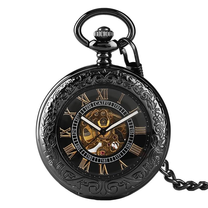 Hollow Transparent Glass Mechanical Watches Men Cover Steampunk Relojes De Bolsillo Pocket Watch Automatic For Men Women