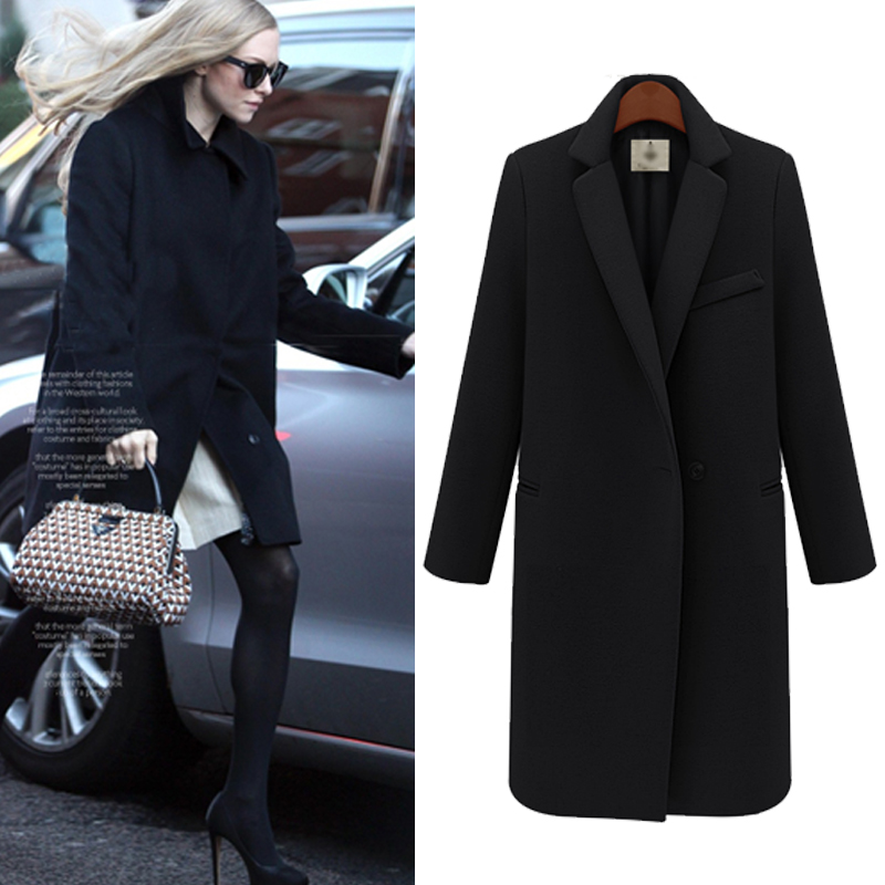 ba80ec3f063 2017 New Design Fall/Winter Fashion Overcoat Women Clothing Classic Lapel  Double Pocket Longline Wool Oversized Coat WO 012-in Wool & Blends from  Women's ...