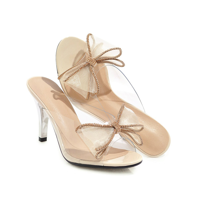Scivoli Kiss Mules alti Peep Bianco Femminili Argento Nero Toe Summer Slippers Albicocca Wet Butterfly Mesh Crystal Tacchi Donna Knot Shoes 7w7ZrfAq