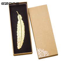 EZONE Creative High-grade Metal Golden Silver Rose Feather Bookmark Document Book Mark Label DIY Gifts Box Beautiful Stationery