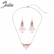 JOOLIM Jewelry Wholesale Cute Pink Clear Crystal Pendant Necklace Earring Set