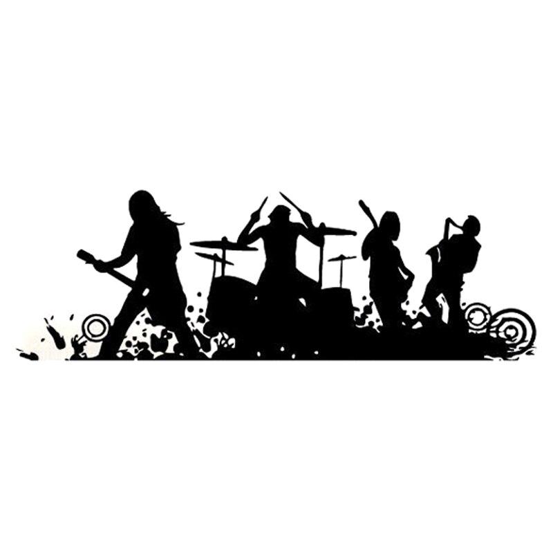 18.7CM*6.1CM Fashion Rocking Band Melody Music Silhouette Vinyl Car Sticker Decor S9-0814