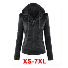 2017 Basic Women Faux Leather Winter Jacket Zipper + button Motorcycle Coat Plus size 5xl 6xl Brown Black hooded jacket TS254(China)