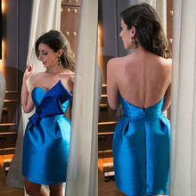 Royal Blue Schatz Ballkleid Mini Cocktailkleider Mit Bogen 2016 kurze Cocktailkleider Shiny Neue Sexy Backless Mini Party kleid