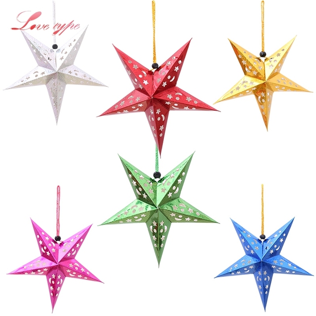 1PC 30cm Paper Stars Garland Star Decoration Christmas Ornaments DIY Home  Decor Wedding/Birthday/