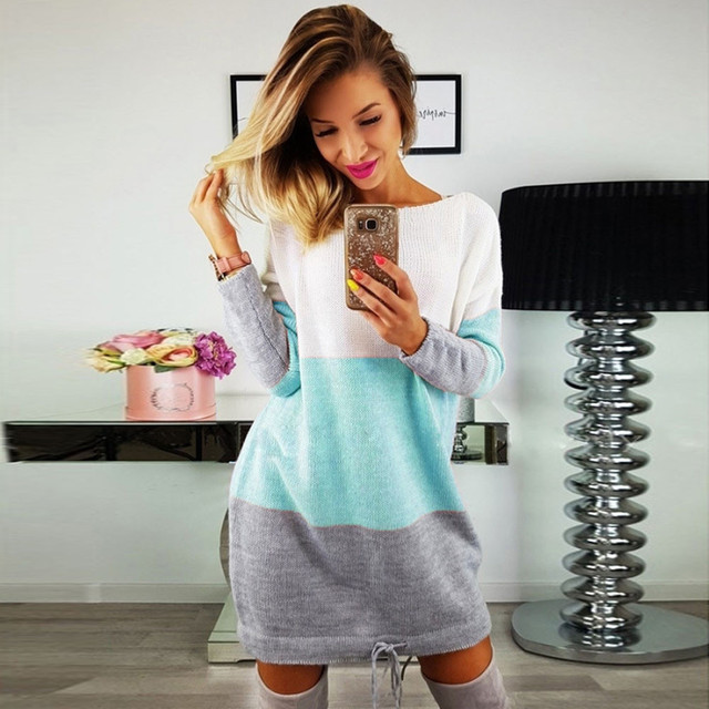 44a80fb0be Lace-Up Sheath Sweater Dress Contrast Color Striped Women Spring Autumn  Winter Long Sleeve Mini Knitted Boycon Dress EY11