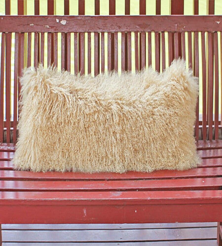 2016 Beige Tibetan Lamb Fur Cushion cover 20x50 Decorative Cushion Coves For Sofa Mongolian Real Fur Pillow Cover Almofada New